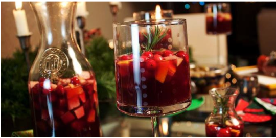 "From Sangria's FB page: ""We just decorated for the holidays so come by and relax with our $5 flavored sangrias, including our new holiday flavors, Cranberry Port and Port Cider House."""